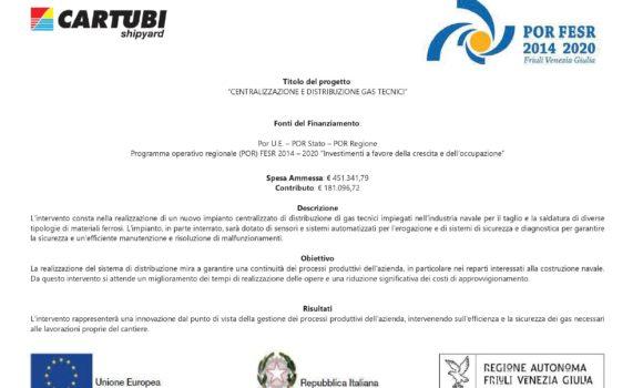 """(POR) FESR 2014 – 2020 """"Investimenti a favore della crescita e dell'occupazione"""" – Nuovo impianto di distribuzione gas tecnici"""